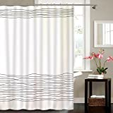 Black and White Striped Shower Curtain Buzio Line Pattern Shower Curtain with 12 Curtain Hooks for Bathroom, Mildew Resistant, Anti-bacterial and Waterproof, 72 x 72 Inches, White