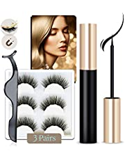 Arishine Magnetic Eyeliner and Lashes Kit, Magnetic Eyeliner for Magnetic Lashes Set, With Reusable Lashes [3 Pairs]