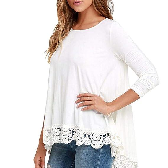 Blusa Mujers Yesmile Las Mujeres Blusa Camisa Blanca de Manga Larga con Encaje de Mujer Blusa Casual Camiseta con Top de algodón Suelto: Amazon.es: Ropa y ...