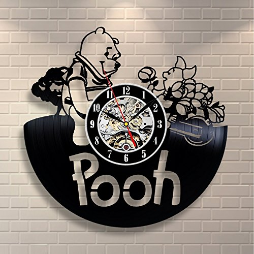 Winnie the Pooh Nursery Vinyl Record Wall Clock - Decorate your home with Modern Large Disney Art - Gift for kids, girls and boys - Win a prize for a feedback (Pooh Winnie Clock The)