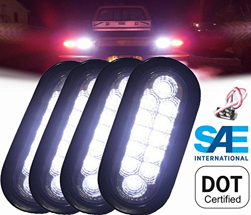 AutoSmart 4 Clear 6' Oval Sealed 12 DIODE LED BACK-UP REVERSE FOG WHITE Light Kit with Light, Grommet and Plug for Truck,Trailer Features chrome reflector inside the lens. STRONG LIGHT!!! 4KL-25109C-wk