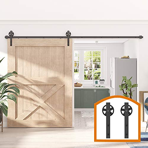 ZEKOO-11-FT-Rustic-Sliding-Wood-Single-Barn-Door-Hardware-Flat-Tracks-Kit