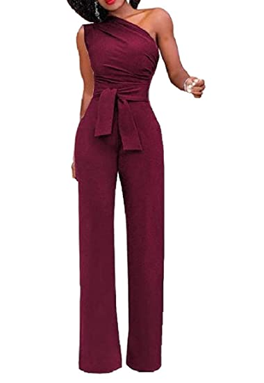 575412ec7d Zimaes-Women Belt Pure Colour One Shoulder Romper Playsuit Jumpsuit Wine  Red M  Amazon.in  Clothing   Accessories
