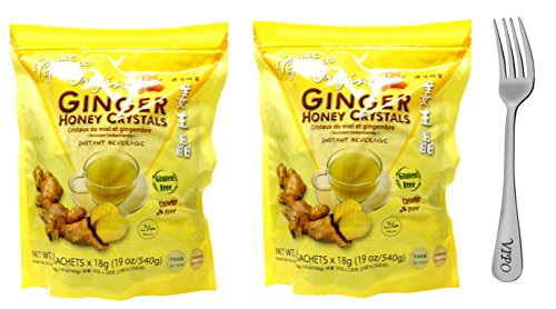 Prince of Peace Original Ginger Honey Crystals 19oz/540g (30 sachets) With FREE Vipo Brand Steel Fork (2-Packs)