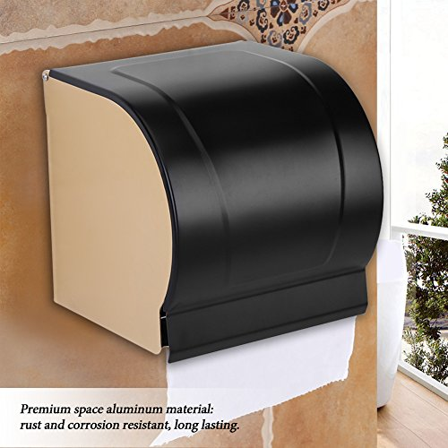 Zerodis Wall Mounted Waterproof Toilet Roll Paper Holder Space Aluminum WC Roll Tissue Box Bathroom Accessory with Mobile Phone Holder by Zerodis (Image #1)