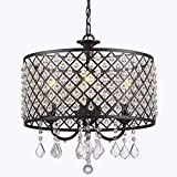 GLANZHAUS 4-Light Elegant Black Crystal Chandelier Pendant Light, Ceiling Light with Crystal Beaded Drum Shade Painted Finish for Bedroom, Living Room, Hallway, Bar, Kitchen, Dining Room, Kids Room
