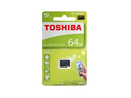Toshiba M203 64GB Class 10 Micro SD Memory Card (THN-M203K0640A4) Micro SD Cards at amazon