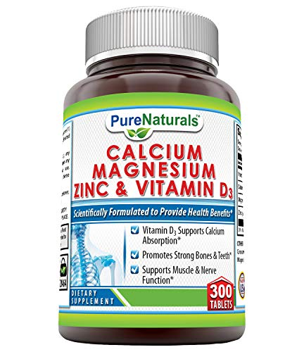 Pure Naturals Calcium Magnesium Zinc with Vitamin D3, 300 Tablets, Supports Nerve & Muscle Functions* Supports Strong Bones & Teeth*