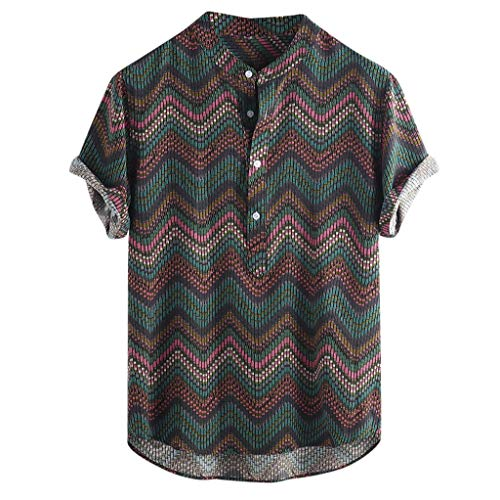 - KINGOL Mens Fashion Ethnic Printed Button Short Sleeve Stripe Shirts Stand Collar Loose Blouse Green