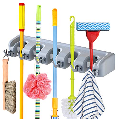 JOSHNESE Mop Broom Holder, Broom Hanger with 5 Positions and 6 Hooks, Wall Mounted Broom Organizer Home Tools Storage Rack for Kitchen Garden and Garage by JOSHNESE
