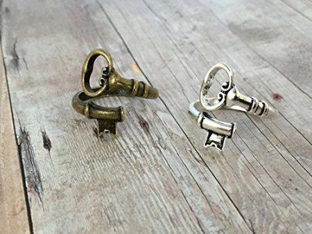 (Bronze & Silver Skeleton Key Ring Set 2 Adjustable Key Rings Antique Bronze Vintage Silver Jewelry Wraparound Spoon Ring)