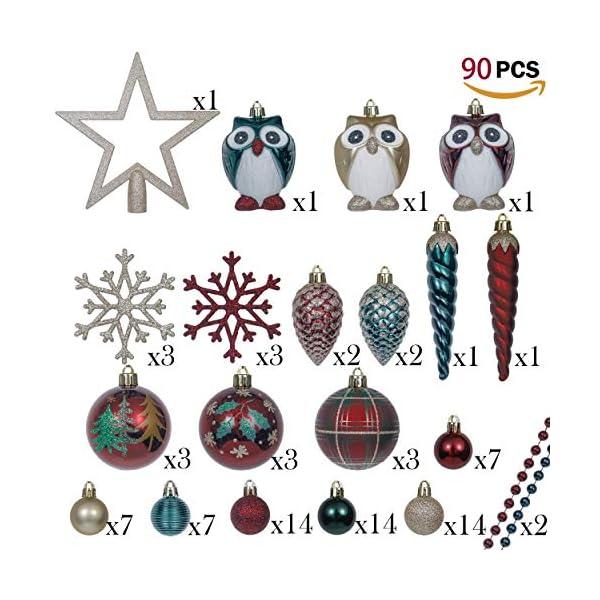 Valery Madelyn Palle di Natale 90 Pezzi di Palline di Natale, 3-13 cm di Strada di Campagna Rosso Verde e Oro Infrangibile Ornamenti di Palla di Natale Decorazione per la Decorazione 3 spesavip