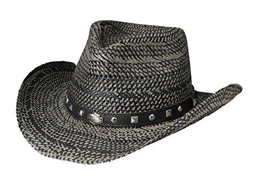 Harley-Davidson Men's Bar & Shield Studded Patterned Toyo Straw Hat Black HD-750