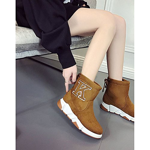 Fall Shoes Boots Women's ZHZNVX Heel Black Suede HSXZ Boots Mid Flat Casual Calf Winter Green Nubuck Fashion leather Comfort PU Toe Round Boots Brown for w88Pq4E