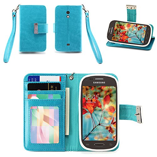 IZENGATE Samsung Galaxy Light (T399) Wallet Case - Executive Premium PU Leather Flip Cover Folio with Stand (Turquoise Blue) (Samsung Galaxy Light Phone Case compare prices)