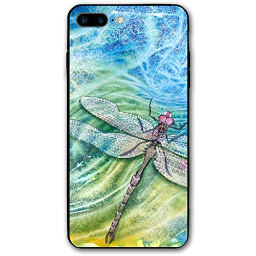 iPhone 7 Plus Case/iPhone 8 Plus Case Dragonfly Painting Soft Rubber Cover Lightweight Slim Printed Protective Case