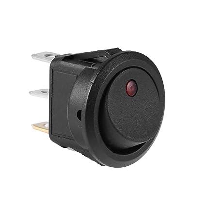 5PCS AC 125V//250V 3 Pins Green Car Round Dot LED Light Rocker Toggle Switch