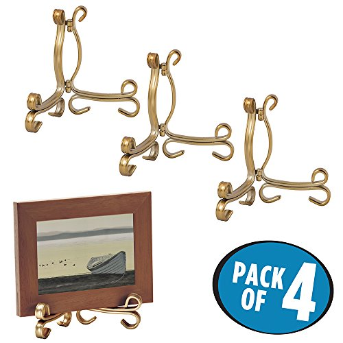 mDesign Easel Holders for Cookbooks, China Plates, Diplomas - Pack of 4, Small, Aged Brass