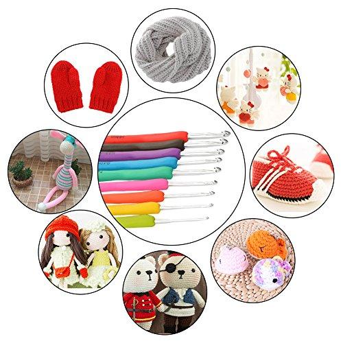 TIMESETL 72Pack Ergonomic Crochet Kit, Painless Soft Grip Crochet Hooks 2-6mm, Aluminum Knitting Needle 0.6-1.9mm, Complete Accessories with Double Zipper Case for Beginner by LETS MEETi (Image #6)