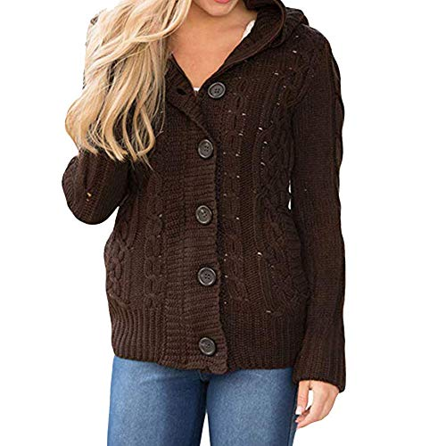 New Belted Safari Jacket - Byyong Women's Casual Hooded Cable Knit Button Down Outwear Sweater Cardigans Coats with Pocket(XL, Brown)