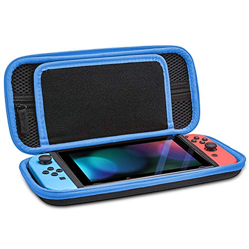 VORI Carry Case Compatible With Nintendo Switch - Protective Hard Portable Travel Carry Case Shell Pouch for Nintendo Switch Console & Accessories-Black Blue