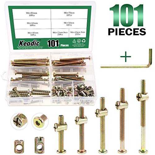 Keadic 100Pcs M6 40/50/60/70/80mm Baby Bed Screws Hardware Replacement Kit, Hex Socket Head Cap Screws Nuts for Furniture Cots Beds Crib, 1 Hex Key for Free - Zinc Plated High Speed Steel (Graco Crib Screws)