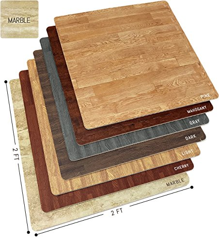 Marble Floor Mats Foam Interlocking Marble Mats Each Tile 4 Square Feet 3/8-Inch Thick Puzzle Marble Tiles with Borders – for Home Office Playroom Basement (12 Tiles 48 Sq ft, Grain - Marble)