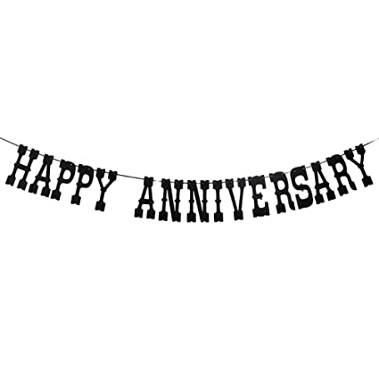 amazon com black happy anniversary banner wedding anniversary party