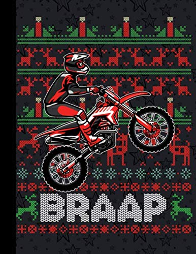 Christmas Motorcycle Tshirt Motocross Braap Dirt Bike Composition Notebook 110 Pages Wide Ruled 8,5 x 11 in: XMas Organizer Journal Planner (Lights Extreme Xmas)