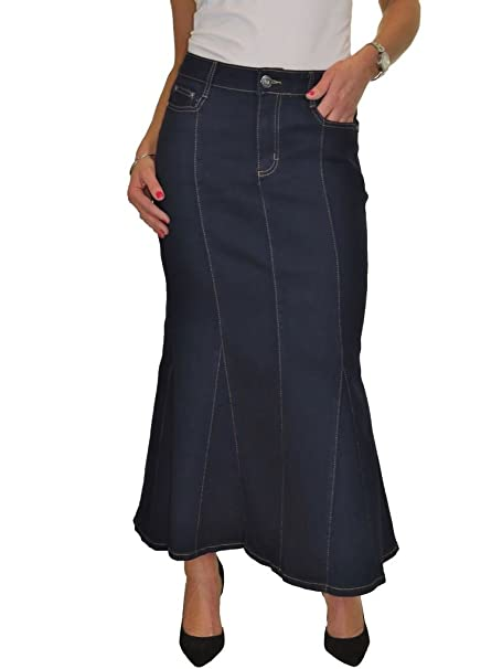 ICE Fishtail Maxi Long Jeans Skirt Stretch Denim Indigo Blue 8 18
