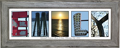 Personalized Childrens Gifts - Name Sign for Girls or Boys 8 by 20 inch Framed Name Created with Beach, Nautical Related Alphabet Photographs - Exclusively By Creative Letter (Driftwood Frame, - Drift Frames