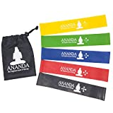 Ananda Resistance Loop Bands By, 5 Pack With Carry Bag. 12 x 2 Inches. For Yoga, Exercise, Fitness, Workout, Pilates, Physical Therapy, Rehab, Etc. For Sale