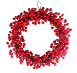EBTOYS Christmas Wreath, 14-Inch Simulation Berry Decorative Wreath Red Fruit Garland for Christmas Hotel Mall Hanging Decoration