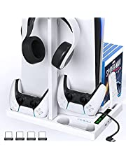 OIVO PS5 Vertical Stand with Controller Charging Station & Suction Cooling Fan, Dual Controller Charger Station, PS5 Gaming Accessories for PS5 Console with Headset Holder