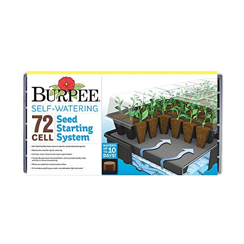 (Burpee 72 Cell Self-Watering Seed Starting Kit, 72 Cell, Black)