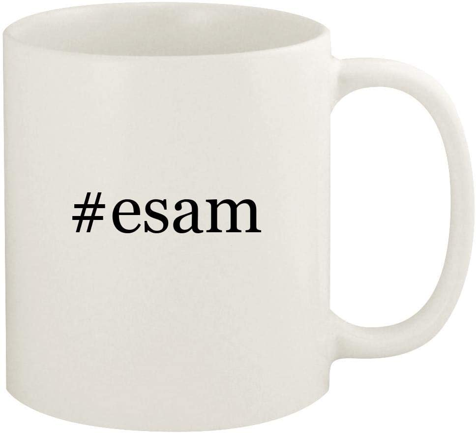 #esam - 11oz Hashtag Ceramic White Coffee Mug Cup, White