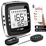 remote bbq thermometer iphone - POVO Wireless Meat Bluetooth Digital BBQ Grill Thermometer with 2 Stainless Probes Remote Monitor for Cooking Smoker Kitchen Oven, Support iOS & Android, Small, Black