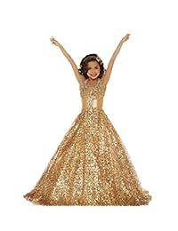 Diandiai Halter Gold Girls Pageant Dresses Princess Kids Patry Ball gown