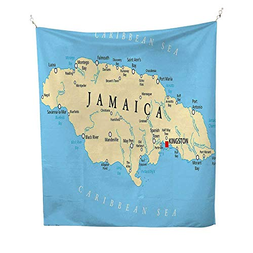 JamaicantapestryMap of Jamaica Kingston Caribbean Sea Important Locations in Country 40W x 60L inch Wall tapestryPale Blue Beige -