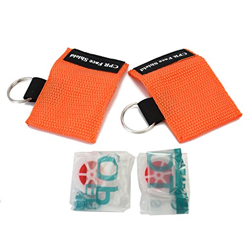 Refaxi 2x CPR Face Shield First Aid Rescue Resuscitator pocket Mask Emergency Key chain Ring (Orange) (Personal Cpr Kit)
