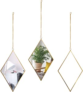 AFFOMO Hanging Wall Mirror 3 Piece Diamond Small Wall Decor Gold Mirror with Chain for Home Decor Bathroom Bedroom Living Room