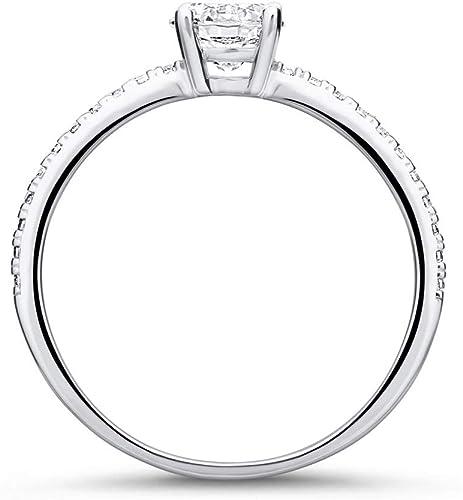 Zirkoniabesetzter Verlobungsring aus 9K Weißgold von Unique