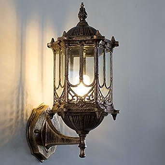 GYHTXHJPET Retro europeo jardín LED de pared de luz exterior, 021 Linterna Foco de acero inoxidable Jardín Lámpara impermeable: Amazon.es: Iluminación