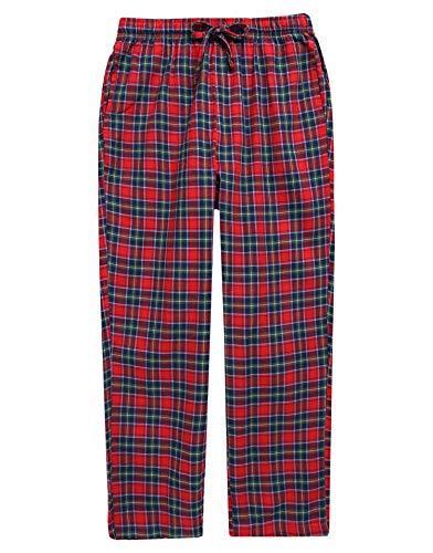 TINFL Boys Plaid Check Soft 100% Cotton Lounge Pants BLP02-05-Red-L]()