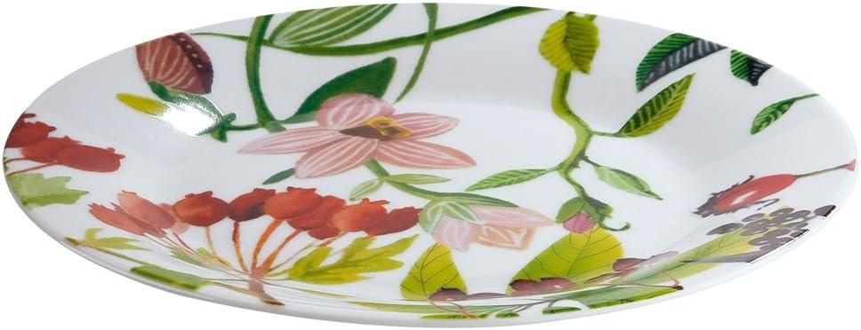 Gilde Plato Decorado con Flores y pájaro, Material Porcelana de Ceniza de Hueso ó Bone China 19,2 cm