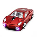 Red 3D USB 2.4GHz Wireless Optical Cool Sports Car Mouse 1600DPI High Tracking Speed Wireless Mice for Computer Laptop (Red)