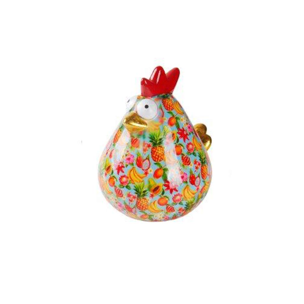 Pomme-Pidou Matilda Chicken XL Ceramic Art Money Bank, Lt Blue & Tropical Print