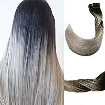 Image of Health and Household Clip in Hair Extensions 120 G/4.2 Ounce 100% Brazilian Remy Human Hair Extensions 9A Thickened Soft Silky Straight for Fashion Women 7pcs 17clips Full Head(22Inch Ombre Natural Black to Silver Gray)