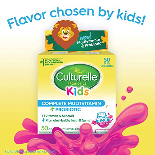Culturelle Kids Complete Multivitamin Plus Probiotic Chewable | Digestive and Immune Support*| Excellent Source of the Antioxidant Vitamins A, C, and E | Contains  LGG, The proven probiotic⌘| 50 Count