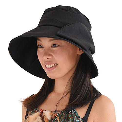 CHARM Casualbox | Womens Sun Hat Summer Beach Japanese Design Wide Brim UV Protection Black